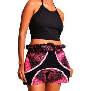 wide leg african print shorts